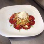 Spaghetti auf Rote Bete